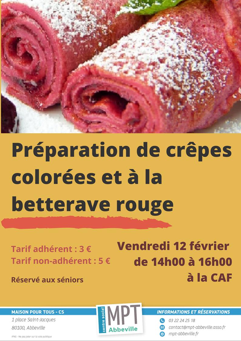 Préparation de crêpes colorées et à la betterave rouge